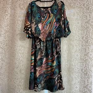 Peacock Loose Top Dress Plus Size 14W
